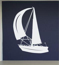 muurtattoo vinyl kunst sticker citeren zeilboot jongens kinderen nautische kamer muur decor sticker