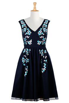 Deep Navy Cotton Poplin Dresses, Floral Bridesmaids Dresses Women's stylish dress - Evening Dress, Cocktail Dress, Prom Dress, and Party Dress from eShakti - | eShakti