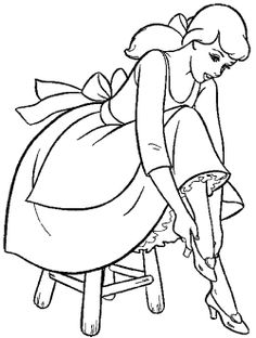 Cinderella Trying The Shoes Coloring Page