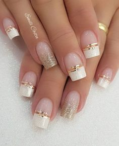 100 Beautiful wedding nail art ideas for your big day - Kristina S. - 100 Beautiful wedding nail art ideas for your big day 100 Beautiful wedding nail art ideas for your big day - wedding nails bride nails nail art romantic nails pink nails - Classy Nails, Stylish Nails, Cute Nails, Diy Nails, Acrylic Nail Designs, Nail Art Designs, Acrylic Nails, Coffin Nails, French Manicure Designs