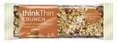 Think Thin Bars. Try out Creamy Peanut Butter, Crunch Caramel Chocolate Dipped Mixed Nuts, or any of the other naturally delicious Think Thin products. All bars contain little to no sugar. Contain 10-20g of protein. Gluten free. Great for breakfast on the go, after workout, or a meal replacement if no time for lunch.