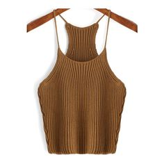 SheIn(sheinside) Khaki Spaghetti Strap Sweater Cami Top ($8.99) ❤ liked on Polyvore featuring tops, crop tops, khaki, cropped tank top, brown crop top, camisole tank tops, cami tank and cropped tops