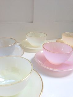 I NEED these cups in my life!! vintage french pastel tea set by Yardofbleu on Etsy