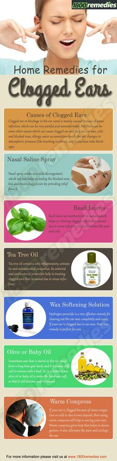 NATURAL HOLISTIC REMEDIES If you are thinking, what to do for your clogged ears, then rely on some home remedies to treat your clogged ears which are safe, pocket-friendly, yet effective. Holistic Remedies, Natural Health Remedies, Natural Cures, Natural Healing, Herbal Remedies, Earache Remedies, Home Health, Health Tips, Ear Health