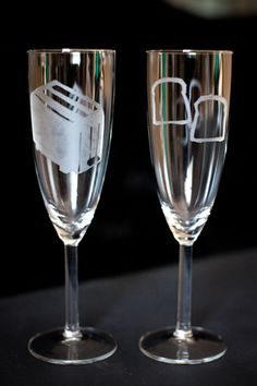 Etch your own toasting flutes. Mmm… toast… | Offbeat Bride