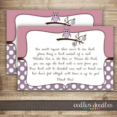 Bring a Book Insert Card / Pink & Purple Owl Baby Shower by OandD