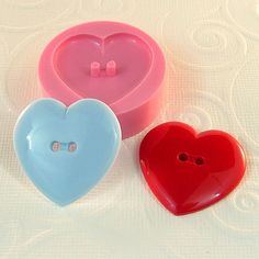Heart Button Mold Flexible Silicone Mould Resin Mold by MoldMuse, $5.25