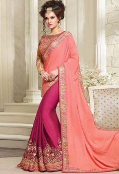 Pink Georgette, Crepe Designer Saree 41231
