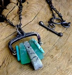 Handmade Rustic Talisman necklace of green chrysoprase, sky blue  turquoise, Vermont Serpentine and  hand forged silver.