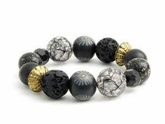 Unikat Armband aus  schwarzen Polymer Clay Perlen von Künstler-Perlen und Schmuck aus Polymer clay und Fimo auf DaWanda.com