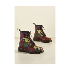 Dr. Martens Statement March Through Manhattan Leather Boot ($140) ❤ liked on Polyvore featuring shoes, boots, boot - bootie, flat boot, red, leather boots, short boots, red shoes, short flat boots and red flat boots