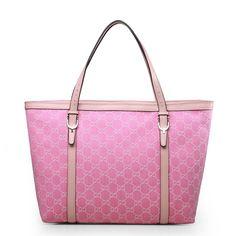 Gucci 309613 Canvas Denim Nice Tote Bag Light Pink