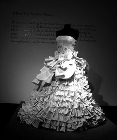 A custom-made dress made entirely from the pages of books, designed and hand crafted by Lancashire bridal designer, Jennifer Pritchard Couchman.