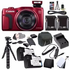 Canon PowerShot SX710 HS Digital Camera (Red) + NB-6L Replacement Lithium Ion Battery + External Rapid Charger + 16GB SDHC Class 10 Memory Card + 32GB SDHC Class 10 Memory Card + Carrying Case + 12-Inch Flexible Tripod with Gripping Rubber Legs + 3 Piece Digital Grey Card Set + DSLR Hand Grip Strap + Mini HDMI Cable + SDHC Card USB Reader + Memory Card Wallet + Deluxe Starter Kit Brands Special Bundle  http://www.lookatcamera.com/canon-powershot-sx710-hs-digital-camera-red-nb-6l-repl..