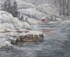 Det gamle fergeleiet i Sundet, Lillesand. Olje på lerret. 46x38 cm. www.oseland.info