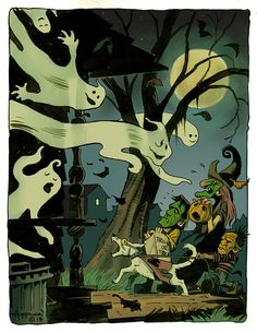 HAUNTED HOUSE GHOSTS Print Frankenstein Monsters Witch Moon Mike Von Hoffman