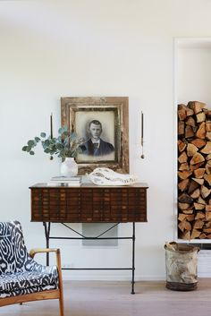 Firewood + beautiful vintage furniture