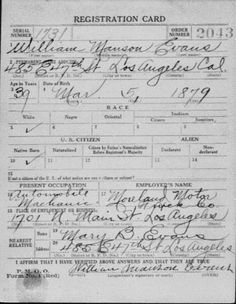 Military Monday: William Manson Evans World War I Draft Registration card #geneabloggers #genealogy