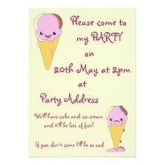 O convite de festas do miúdo com sorvete de Kawaii