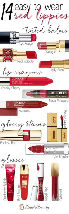 Easy to Wear Red Lippies  via @15 Minute Beauty. I have such a tough time finding a suitable red for me, hopefully this helps!