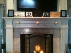 Temporary way to hide TV cords on mantle---exactly what i need to do