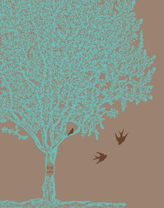 Nursery Art Family tree birds baby sister brother by ZeppiPrints, $24.00