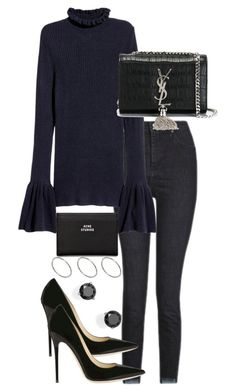 """""""Untitled #3111"""" by theeuropeancloset on Polyvore featuring Topshop, Yves Saint Laurent, Jimmy Choo, Acne Studios, Bloomingdale's and ASOS"""