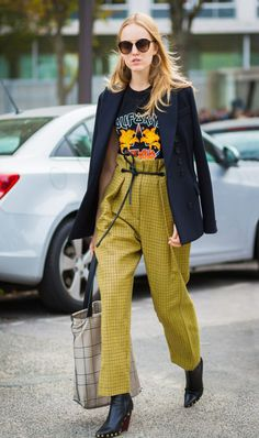 yellow check pants band tee street style