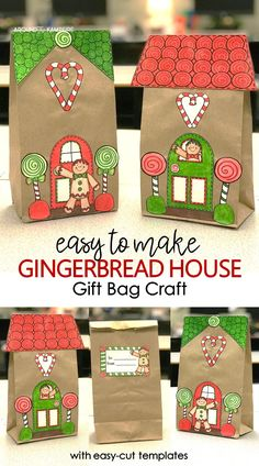 These easy paper bag gingerbread houses make the perfect holiday Christmas craft for kids. A fun addition to your classroom gingerbread man activities, they make great gift bags for parent Christmas gifts too! Simple lunch sacks and the easy cut templates work well for Kindergarten, first grade, second grade and even third grade students as they design their own gingerbread house. #gingerbreadhousecraft #christmasactivities #classroom