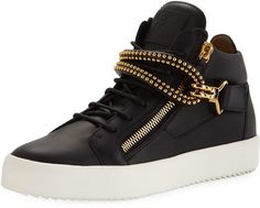 Shop Men's Leather Studded Mid-Top Sneaker from Giuseppe Zanotti at Neiman Marcus Last Call, where you'll save as much as on designer fashions. Lv Shoes, Men's Leather, Last Call, Clearance Sale, Giuseppe Zanotti, Neiman Marcus, Footwear, Luxury, Sneakers