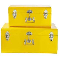 2 malles en métal jaunes L 44 cm et ...