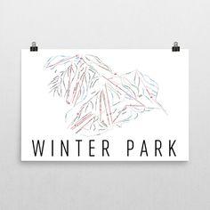 Winter Park Ski Map Art, Winter Park CO, Winter Park Trail Map, Winter Park Ski Resort Print, Winter Park Poster, Winter Park Mountain, Art