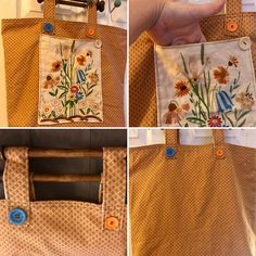 Carrier bag with wooden handles  Softest brushed cotton in biscuit colour with small burgundy coloured geometric pattern. Fully lined with high quality calico.   External pocket made from lined tapestry (upcycled vintage piece). Internal pocket with subdivisions for phone and pen. Removable rigid base. Handles upcycled from vintage wall hanging. Base and handles can be removed for washing (gentle wash, cool cycle).  https://www.facebook.com/Upsychled/posts/1157621360974175