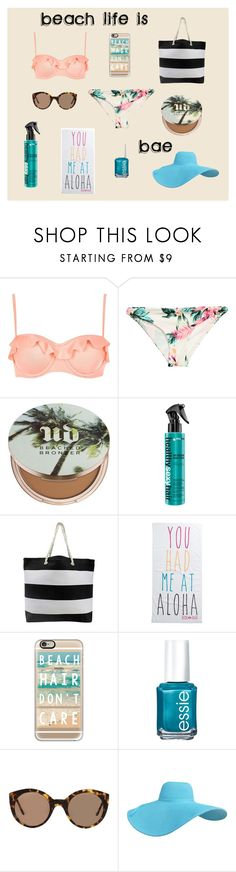 """BEACH LIFE"" by reagan-fairchild on Polyvore featuring River Island, H&M, Urban Decay, Rip Curl, Casetify, Essie and Illesteva"