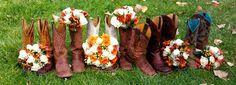 Orange and White Wedding Bouquets