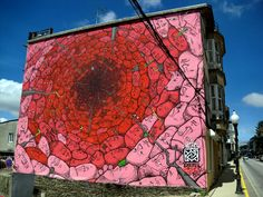 Street and Public Art, Liqen, Artist, Red Hole, Painted as part of the Desordes Festival in Spain.