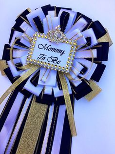 Black and gold mommy to be pin -Little prince baby shower- boy baby shower- black and gold baby shower-royal prince baby shower-mommy to  be