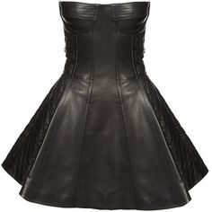 Balmain Leather Bustier Dress (4 090 AUD) ❤ liked on Polyvore featuring dresses, vestidos, short dresses, balmain, black leather bustier, skater skirt, leather dress, leather skater skirt and black dress