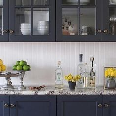 Grey granite counter tops open shelving with white base for Navy blue granite countertops