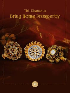 #Dhanteras is here! Bring home exquisite gold rings, and prosperity. Shop with us today. #MalaniJewelers Happy Dhanteras, Creative Advertising, Typography Quotes, Diamond Earrings, Gold Rings, Bring It On, Jewels, Shop, Jewerly