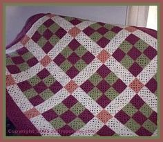 """Free nine patch crochet afghan pattern; finished length is 60"""" using worsted weight yarn."""