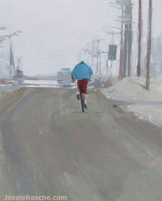 """""""The Cyclist"""" oil painting by Jessie Rasche. I'm starting a free basic painting class. Sign up at jessierasche.com."""