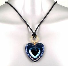 Vintage Gold & Turquoise Chic Heart & Key Pendant Necklace w/ Swarovski Crystals