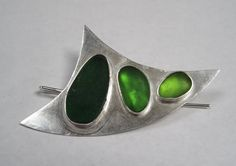 Sea Glass Brooch Sterling Silver and Green by PalindromeSeaGlass