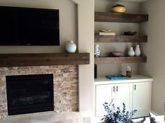 Home Remodeling Fireplace Knotty Alder Beam Builtin Shelves Fireplace Shelves, Fireplace Built Ins, Home Fireplace, Fireplace Remodel, Living Room With Fireplace, Fireplace Design, Fireplace With Cabinets, House Shelves, Fireplace Ideas