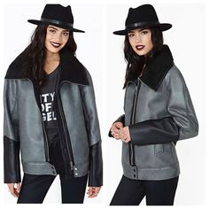 Nasty Gal Eternal City Faux Leather Moto Jacket Oversized grey and black jacket from Nasty Gal. Lined with faux shearling. Nasty Gal Jackets & Coats