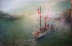 The Clermont by Connie Payson, Portrait artist and engineer,  Robert Fulton, adapted a steam engine to a boat and sailed it along the Hudson and East Rivers in 1807, creating commercial passenger service to the region. This was painted from a vintage photograph after the ship was rebuilt due to its historical significance to the settlement of the United States.