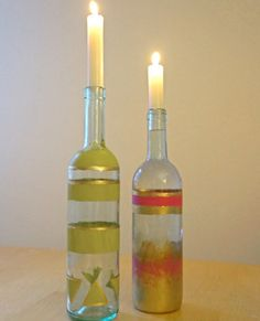 DIY Candle Holder Wine Bottles