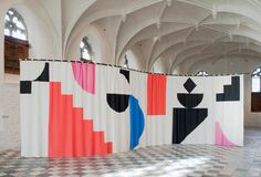 Eva Berendes, The Middleburg Curtain, installation view at De Vleeshal Middelburg (NL), 2011 Environmental Design, Environmental Graphics, Exhibition Space, Grafik Design, Retail Design, Installation Art, Geometric Shapes, Event Design, Interior Architecture