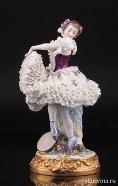 Неаполетанский танец, танцовщица с бубном, кружевная, Ackermann & Fritze, Германия, нач. 20 в.